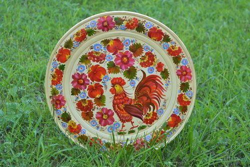 Painted plate handmade decorative plates wooden gifts home decorations  - MADEheart.com