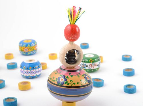 Unusual homemade eco painted wooden toy spinning top with ring and string - MADEheart.com