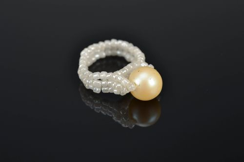 Unusual beaded ring White Pearl - MADEheart.com
