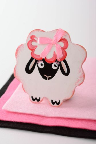 Handmade small decorative plywood fridge magnet painted with acrylics pink lamb - MADEheart.com