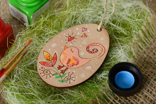 Handmade painted plywood egg interior pendant and fridge magnet - MADEheart.com