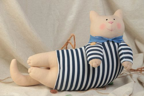 Handmade funny soft toy sewn of natural fabrics Cat Sailor in striped suit - MADEheart.com