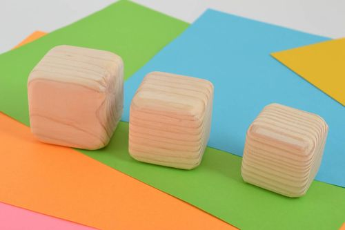 Set of 3 handmade wooden cubes wooden blocks educational toys for kids - MADEheart.com