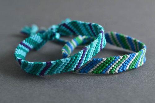 Set of handmade designer macrame bracelets made of floss threads 2 piece - MADEheart.com