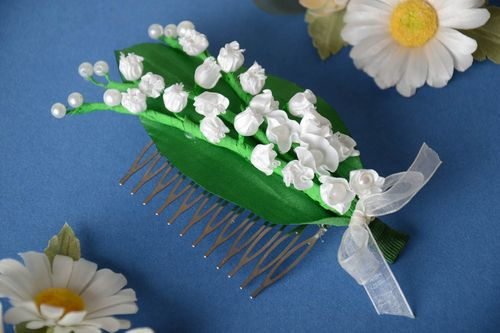 Handmade designer hair comb with metal basis and satin snowdrop flowers - MADEheart.com