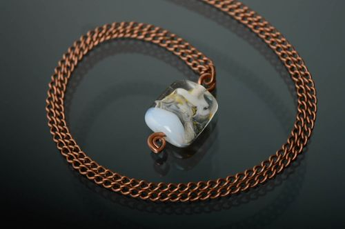 Wire wrap copper pendant with lampwork glass bead - MADEheart.com