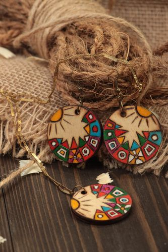 Handmade wooden jewelry wooden earrings with charms wooden pendant with painting - MADEheart.com
