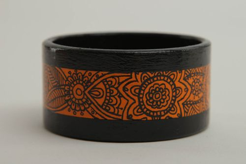 Ornamented bracelet wide wrist bracelet handmade wooden accessory for women - MADEheart.com