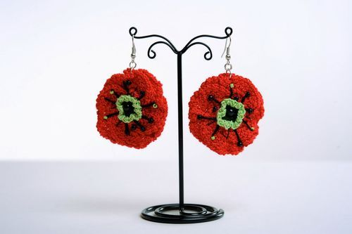 Knitted earrings Poppies - MADEheart.com