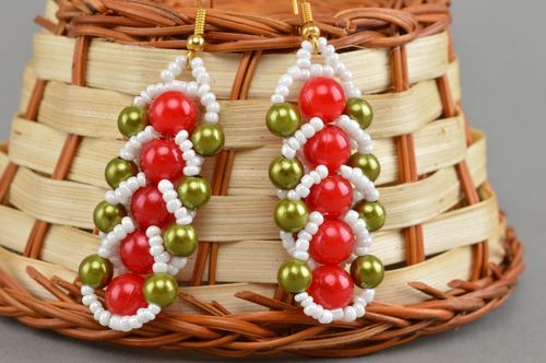 Colorful handmade long beaded earrings fashion accessories gifts for her - MADEheart.com