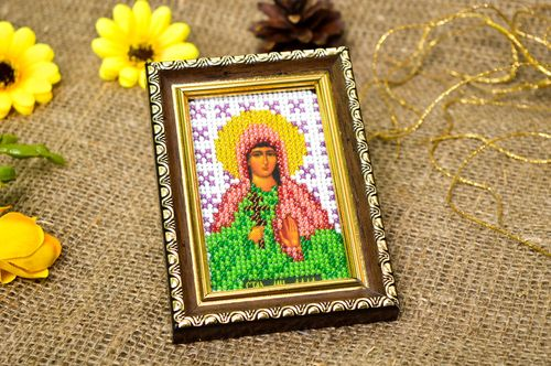 Handmade religious icon beadwork icon for decorative use home decor unique gifts - MADEheart.com
