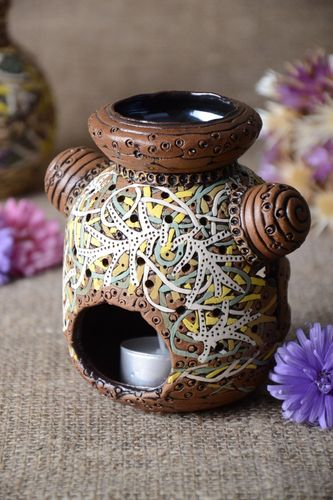 Handmade beautiful candlestick unusual clay candlestick stylish home decor - MADEheart.com