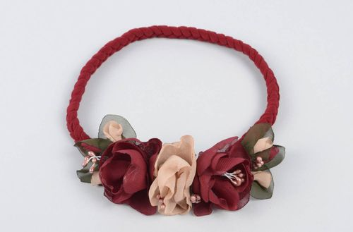 Unusual handmade headband stretch headband hair ornaments flowers in hair - MADEheart.com