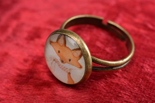 Handmade cute decoupage round jewelry ring on metal basis of adjustable size Fox - MADEheart.com