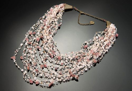 Necklace made of rhodonite fragments - MADEheart.com