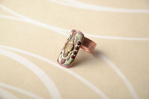 Unusual copper ring with painting - MADEheart.com