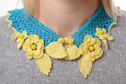 Handmade collar crocheted collar unusual gift fashion ideas collar for women - MADEheart.com