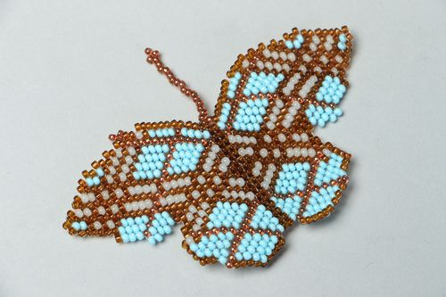Designer beaded brooch in the shape of butterfly - MADEheart.com