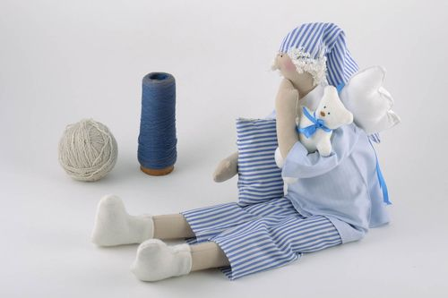 Handmade linen fabric soft toy angel in blue pajama with pillow and toy bear  - MADEheart.com