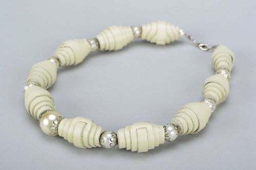 Beige beads made of natural leather - MADEheart.com