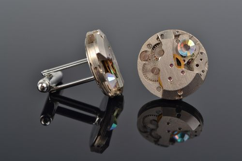 Handmade designer metal cufflinks with clock mechanism in steampunk style - MADEheart.com