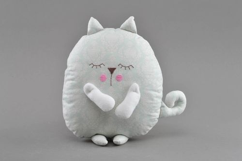 Handmade small designer decorative cotton soft pillow pet toy gray cat for kids - MADEheart.com