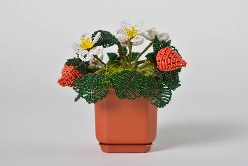Beautiful homemade beaded flower composition with strawberry Summer - MADEheart.com