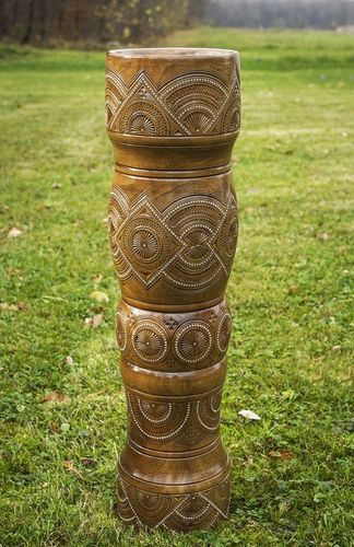 29 inches handmade decorative wooden vase inlaid with beads 12,6 lb - MADEheart.com