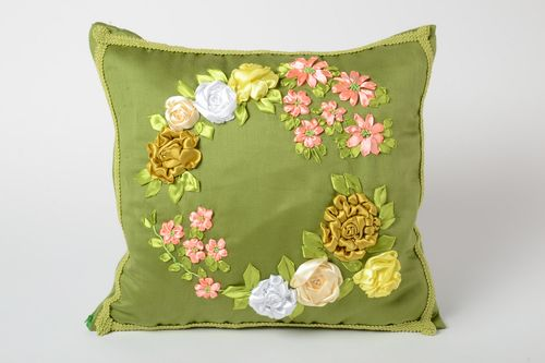 Green handmade pillow case with volume satin ribbon flowers - MADEheart.com