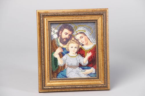 Icon embroidered with beads under non-reflective glass - MADEheart.com