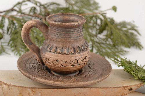 Handmade decorative small ceramic cup with saucer ornamented pottery 100 ml  - MADEheart.com
