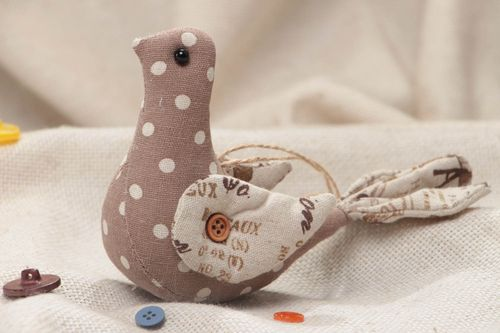 Small handmade decorative wall hanging soft toy bird sewn of beige fabric  - MADEheart.com