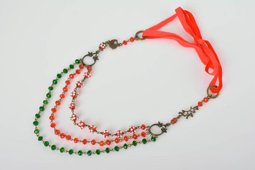 Beautiful handmade beaded necklace glass art accessories for girls gift ideas - MADEheart.com