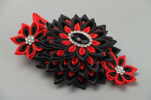 Black and red handmade hair clip with kanzashi flower created of rep ribbons - MADEheart.com