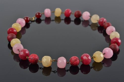 Handmade designer colorful agate coral and glass bead necklace pink and beige - MADEheart.com