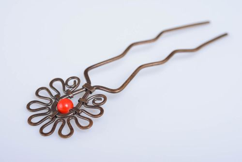 Handmade decorative copper hairpin with bead wire wrap designer hair accessory - MADEheart.com
