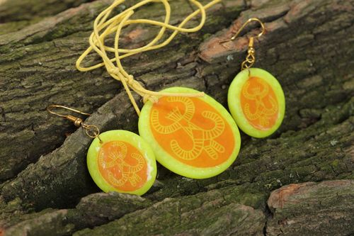 Handmade set of polymer clay jewelry earrings and pendant bright yellow with orange - MADEheart.com