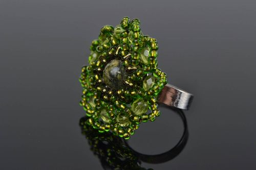 Handmade green ring made of seed beads with natural stone of unusual shape - MADEheart.com