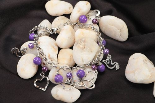Festive handmade bracelet accessory made of ceramic pearls violet jewelry - MADEheart.com