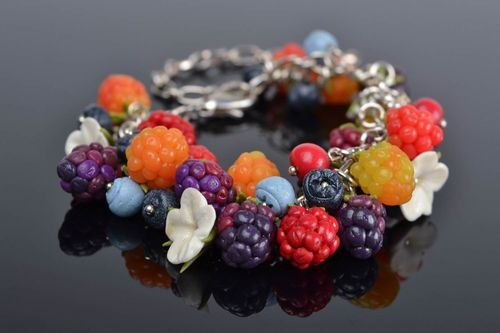 Handmade chain wrist bracelet with polymer clay colorful berries and flowers - MADEheart.com