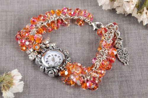 Beautiful handmade beaded wristwatch bracelet wrist watch ideas gifts for her - MADEheart.com