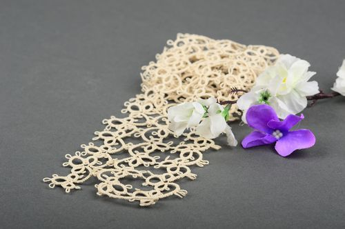 Tatting collar openwork collar handmade stylish collar for dress gift for girl - MADEheart.com