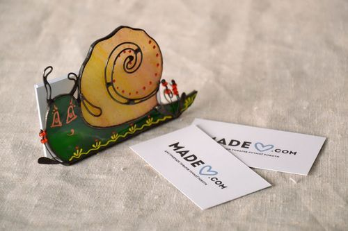 Stained glass business card holder Snail - MADEheart.com