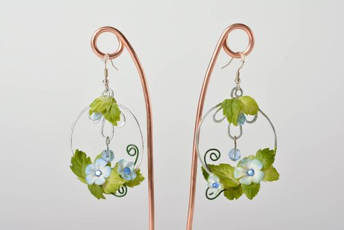 Handmade long massive polymer clay floral earrings with metal fittings - MADEheart.com