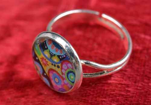 Beautiful colorful decoupage handmade designer epoxy ring of adjustable size - MADEheart.com