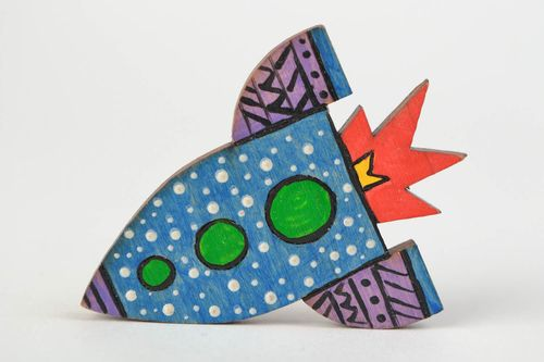 Handmade designer wooden brooch painted with acrylics in the shape of rocket - MADEheart.com