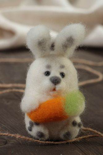 Beautiful handmade childrens felted wool soft toy Hare - MADEheart.com
