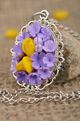 Beautiful handmade gentle lilac flower pendant molded of polymer clay - MADEheart.com