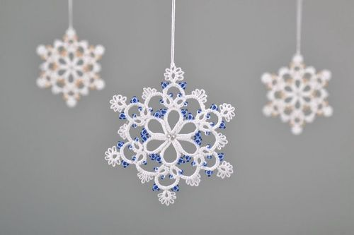 Christmas tree lace hanging decoration made of cotton Snowflake - MADEheart.com