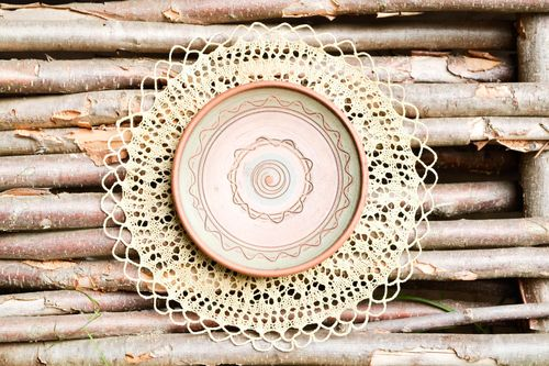 Handmade designer wall decor ceramic painted plate decorative use only - MADEheart.com